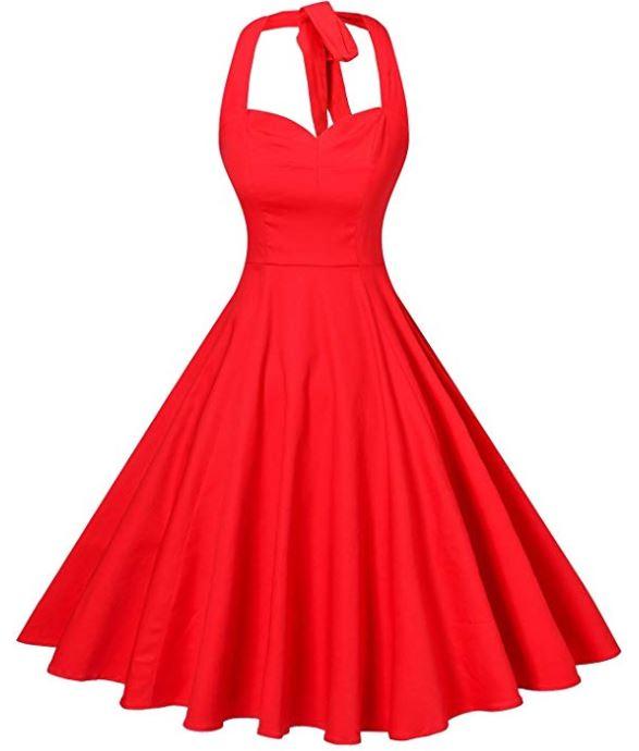 Rockabilly 50s Vintage Polka Dots Halter Cocktail Swing Dress