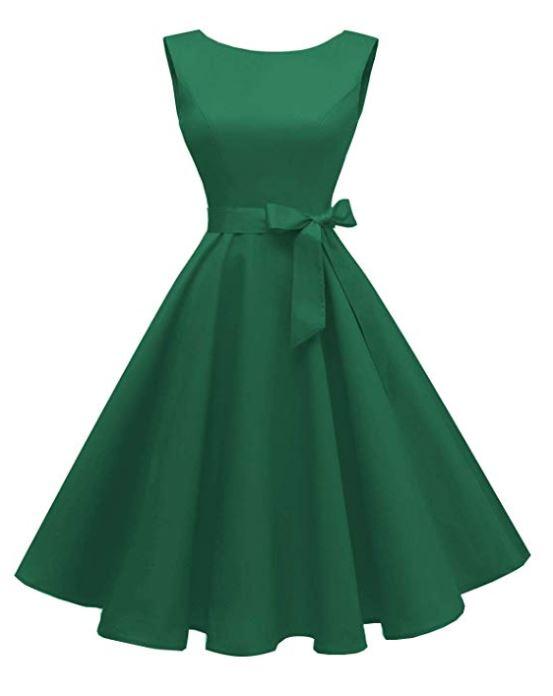 Boatneck Sleeveless Swing Vintage 1950s Cocktail Dress