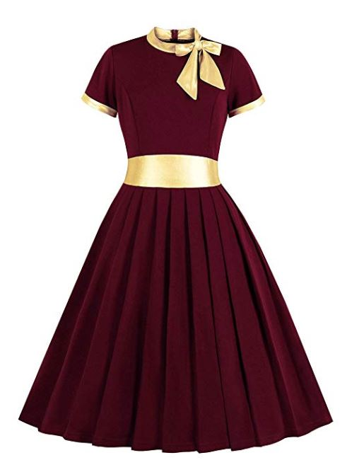 Women's Gold Patchwork Tie Neck Formal 1940s 50s Vintage Dress