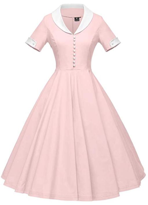 1950s Cape Collar Vintage Swing Stretchy Dresses