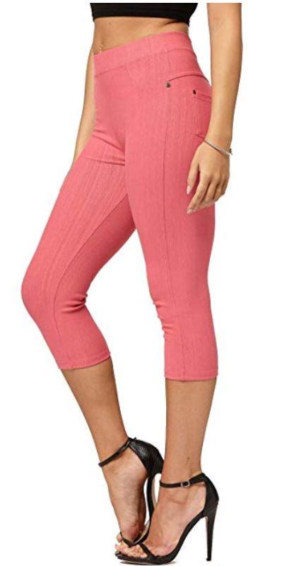 retro capri jeans in Pink