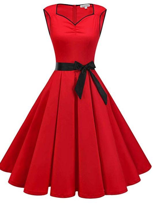 1950s Vintage Dresses Cocktail Dresses for Women Retro Rockabilly Party Swing Dress