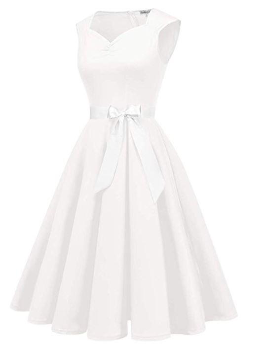 1950s Vintage Dresses Cocktail Dresses for Women White Retro Rockabilly Party Swing Dress