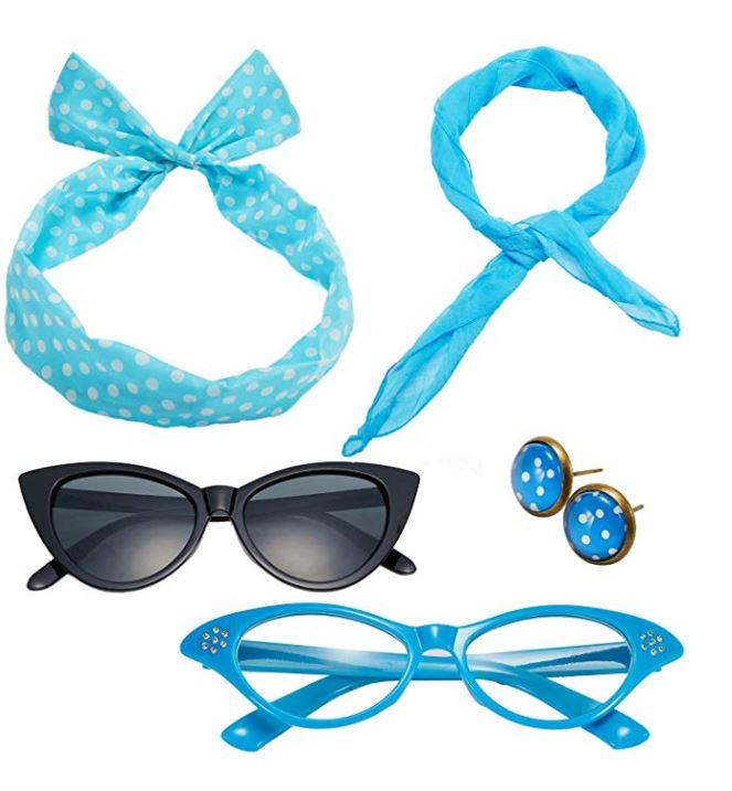 Rockabilly accessories set in baby blue