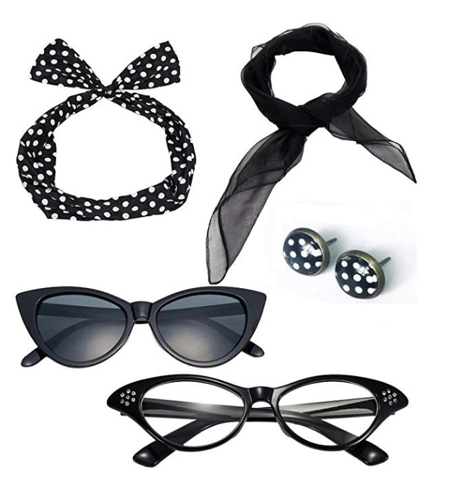Rockabilly accessories set in black with white