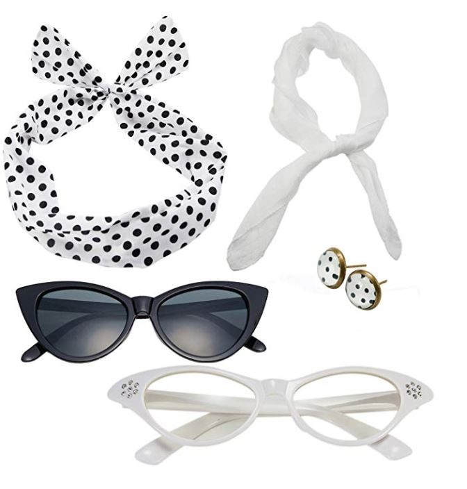 Rockabilly accessories set in white with black