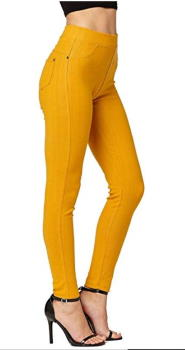 Skinny jeans retro styling in amber